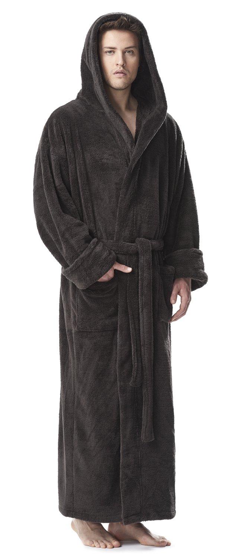 Arus Men's Fleece Robe, Long Hooded Turkish Bathrobe, Charcoal, L/XL