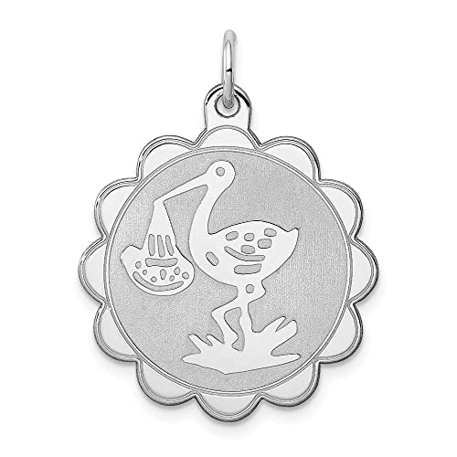 FB Jewels Solid 925 Sterling Silver Rhodium-Plated Fire Symbol Lobster Clasp Charm