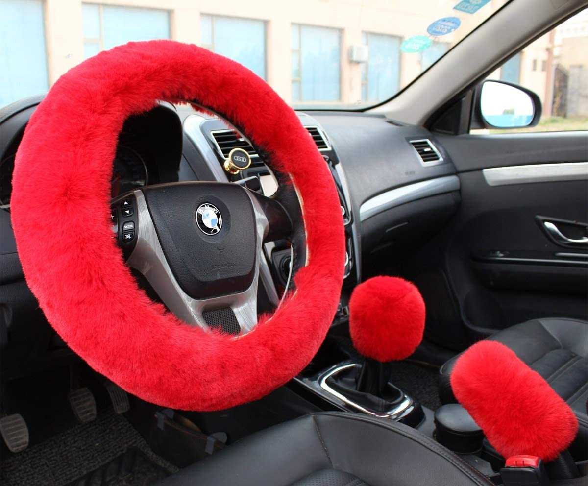 Valleycomfy Fashion Steering Wheel Covers for Women/Girls/Ladies Australia Pure Wool 15 Inch 1 Set 3 Pcs, Red