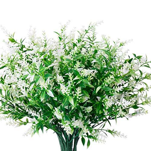 JEMONG 8 Bundles Artificial Lavender Flowers Outdoor UV Resistant Fake Flowers No Fade Faux Plastic Plants Garden Porch…
