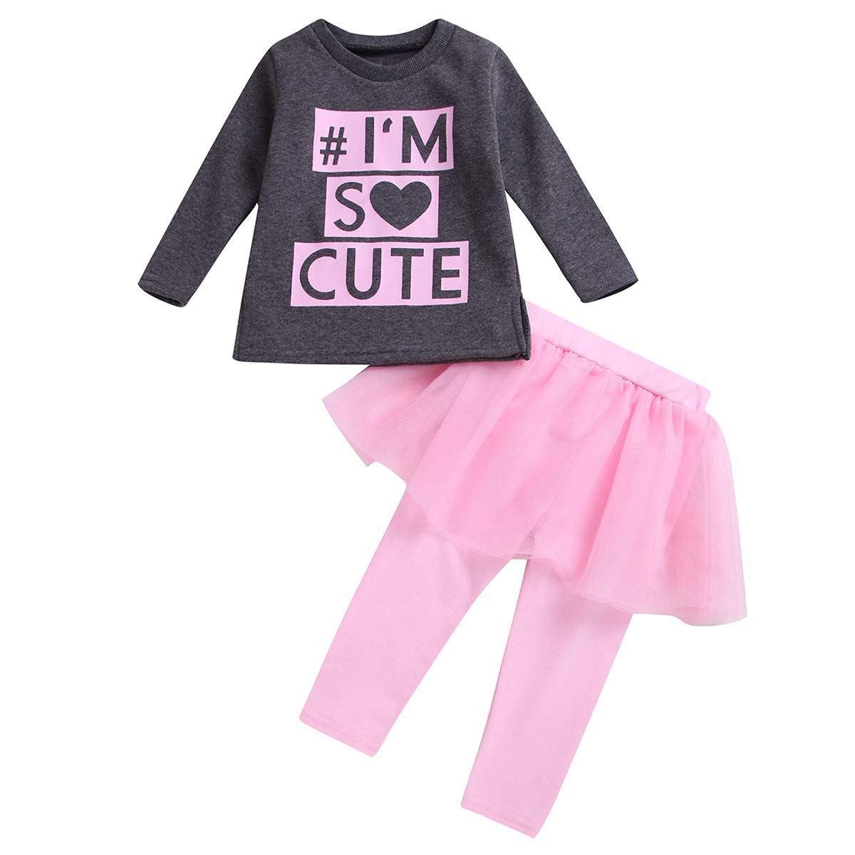 1-6T Toddler Girls Long Sleeve Shirt+Pantskirt Culotte Leggings Casaul Clothing Color : Pink+GRAY, Size : 4-5T
