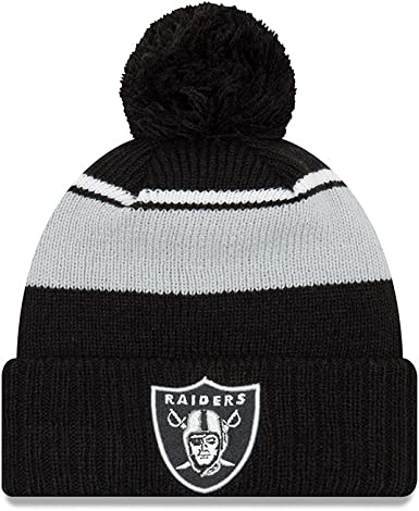 Amazon Com New Era Oakland Raiders Call Out Cuff Pom Knit Beanie Hat Cap Clothing