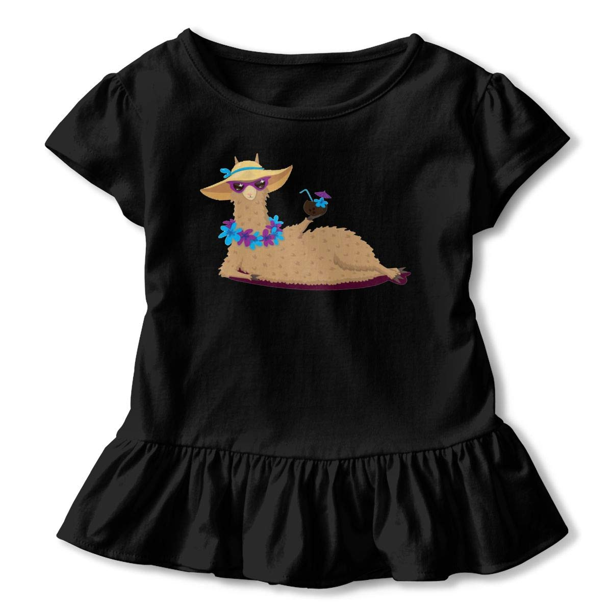 NMDJC CCQ Hawaiian Beach Llama Baby Skirts Cute Kids T Shirt Dress Comfortable Flounces Skort