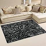 LORVIES Math Blackborad With School Symbol Area Rug Carpet Non-Slip Floor Mat Doormats for Living Room Bedroom 60 x 39 inches