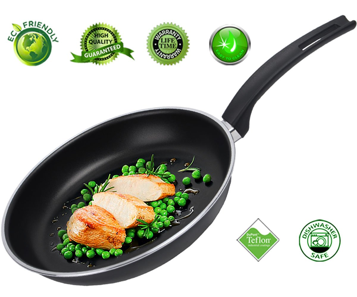 Frying Pan Nonstick Skillet Fry Pan Teflon Nonstick Coating Omelet Pans Cookware Aluminum Dishwasher Safe 10 Inch Black Tiago