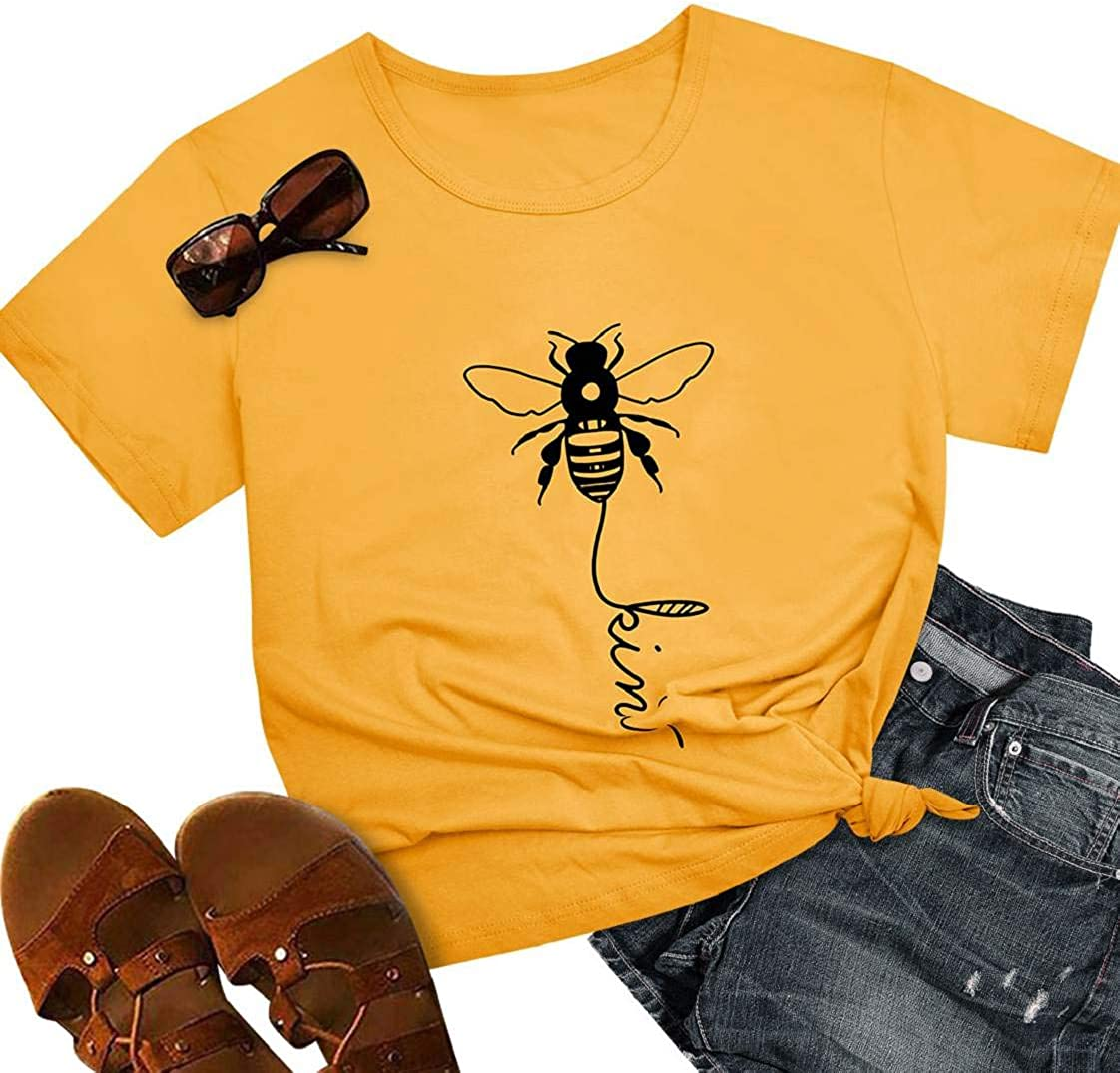 CMTOP Women Bee Kind T-Shirt Ladies Bee Graphic Shirt Crew Neck Short Sleeve Summer Tee Print Tops Slouch Blouse Loose Fit Casual Pullover Tees Tops for Outdoor Crew Neck