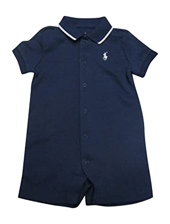 b9692cdd14 Ralph Lauren Baby Boys Onesie One Piece Interlock Solid Infant Shortalls  (Navy, 18 Months)