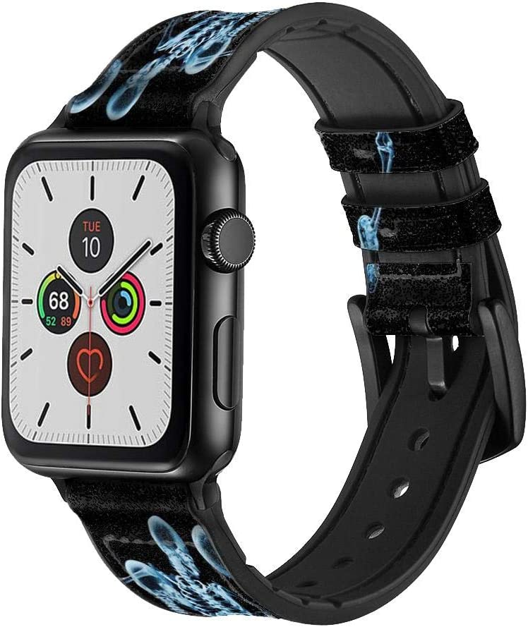 CA0151 Soccer X-ray Leather & Silicone Smart Watch Band Strap for Apple Watch iWatch Size 42mm/44mm