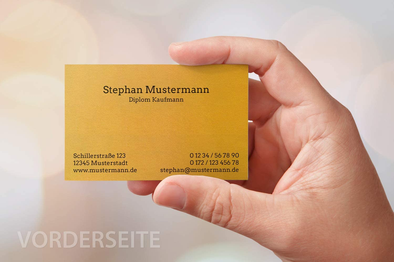 Feinpapier mit metallisierter Oberfl/äche goldgelb 50 Visitenkarten