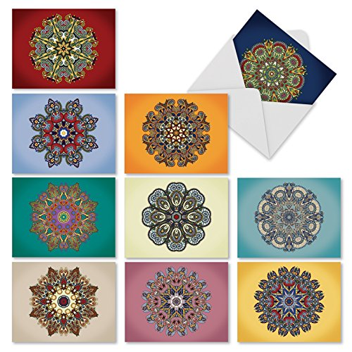M3964 Mandala Mania: 10 Assorted Blank All-Occasion Note Cards Feature Imagery of the Spiritual and Ritual Indian Religious Symbol, w/White Envelopes.