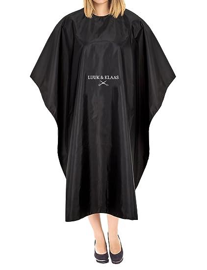 LUUK & KLAAS bata de peluquería con velcro en negro | capa de barbero | cobertor