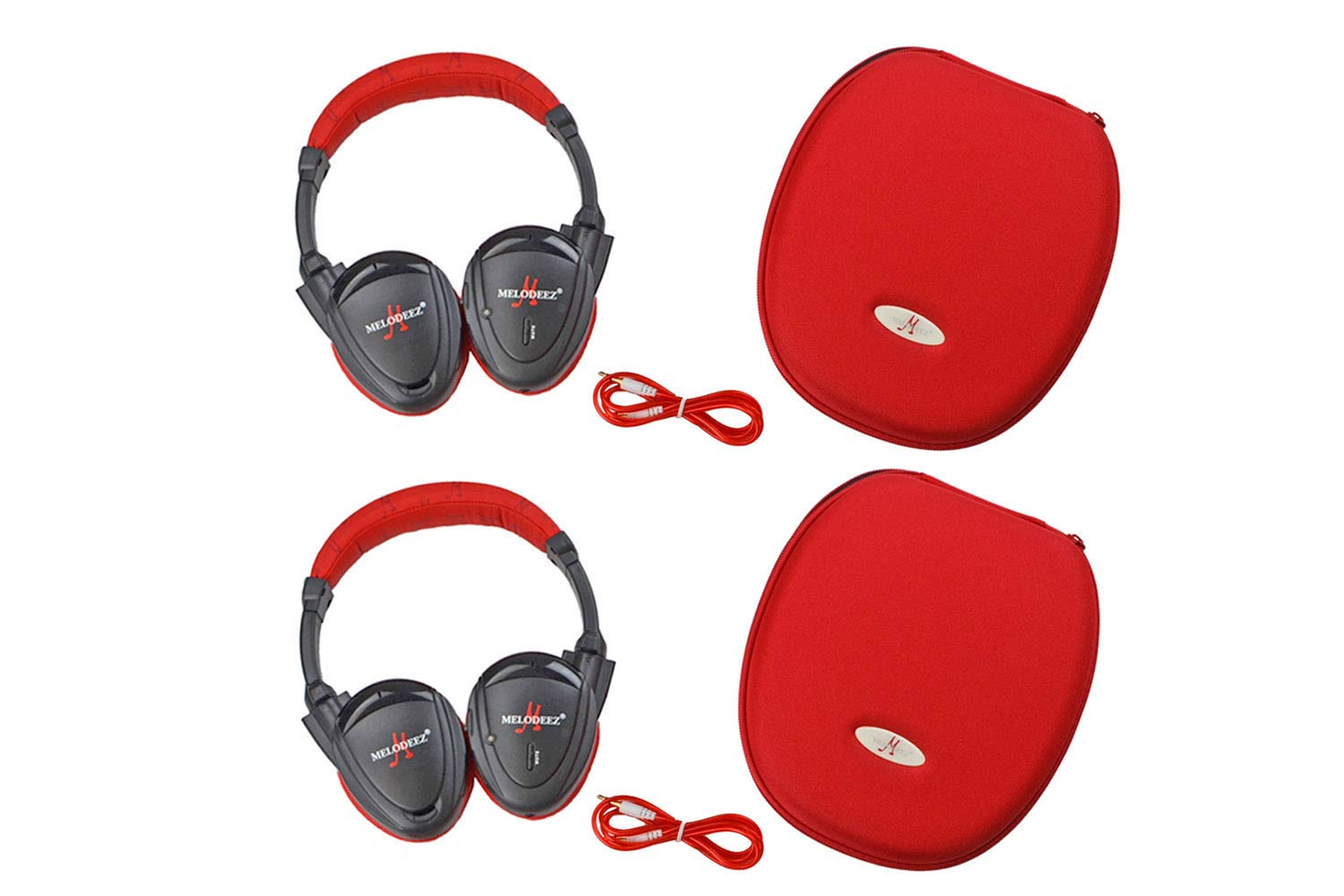 Wisconsin Auto Supply MDZHP-FF-RED Wireless Headphone (2 Channel Fold Flat DVD Player with Case and 3.5 mm Auxiliary Cord), 2 Pack by Wisconsin Auto Supply