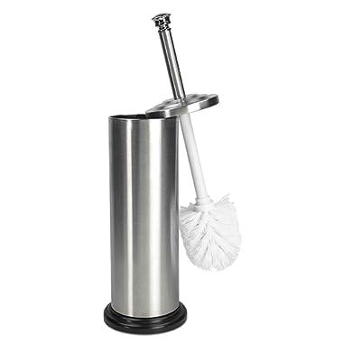Home Basics Toilet Brush with Holder (Matte Steel)