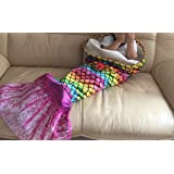 【Upgrade Version】Opall 2017 Latest Cozy Soft Rainbow Mermaid Tail Blanket for kids, with Scales apply on all seasons pink small pink