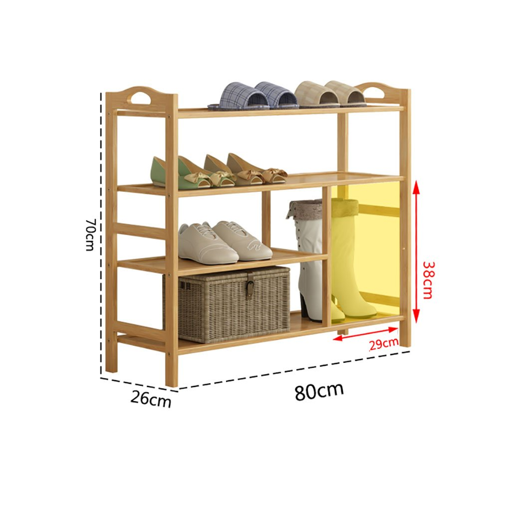 A 80cm shoes Bench Organizing Rack Natural Bamboo shoes Rack Kitchen Shelf Simple Economic shoes Rack Solid Wood Living Room Assembly shoes Cabinet (color   B, Size   80cm)