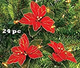 Red Glitter Poinsettia Christmas Tree Ornaments ( 2 DOZEN PER ORDER)