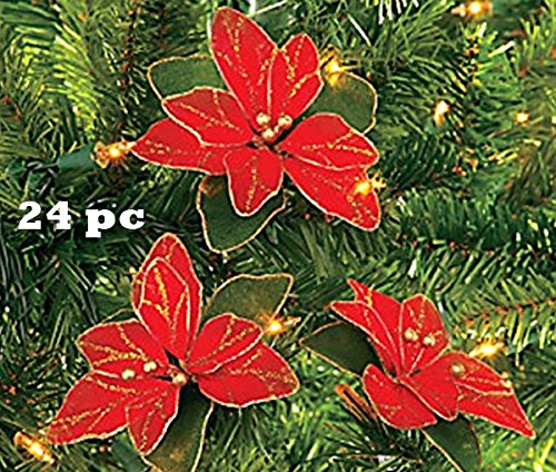Red Glitter Poinsettia Christmas Tree Ornaments ( 2 DOZEN PER ORDER) (Poinsettia For Christmas Tree)