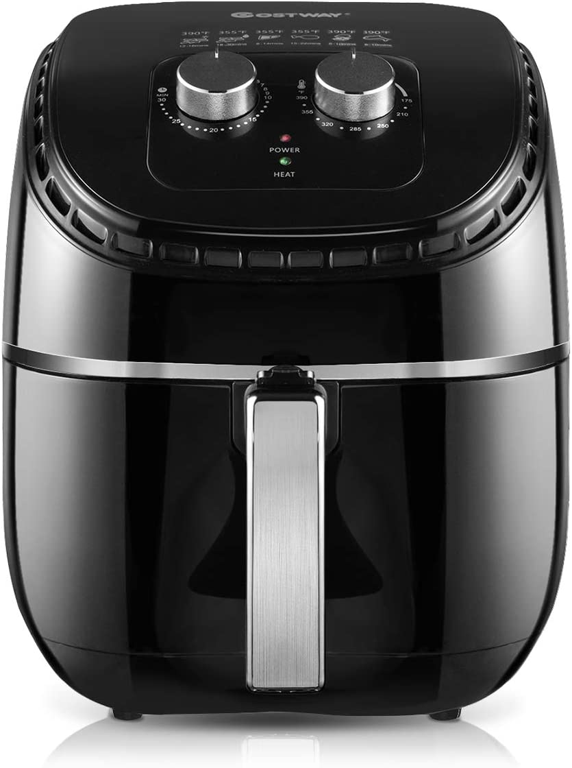 COSTWAY Air Fryer 3.5Qt 1300W Electric Hot Oil-Less Oven Cooker, UL Certified, Dishwasher Safe, with Smart Time Temperature Control, Non Stick Fry Basket, Auto Shut Off Black