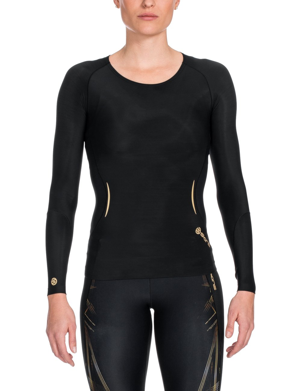 SKINS Women's A400 Long Sleeve Compression Top, Black/Gold, Large