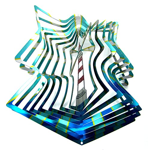 Laser Lighthouse Crystal (WorldaWhirl Whirligig 3D Wind Spinner Hand Painted Stainless Steel Lighthouse (12