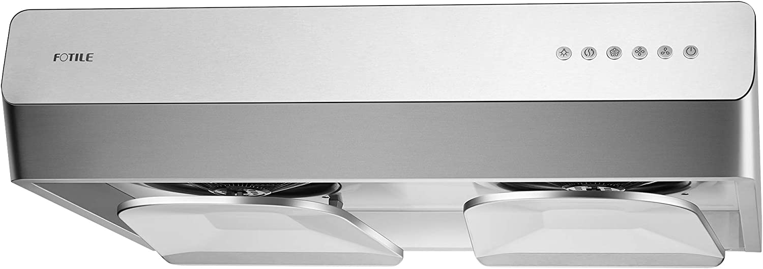 "FOTILE Pixie Air UQS3001 30"" Stainless Steel Under Cabinet Range Hood, 800 EQUIV. CFMs Kitchen Over Stove Exhaust Vent with LED Lights Dual AC Motors and Mechanical Buttons"