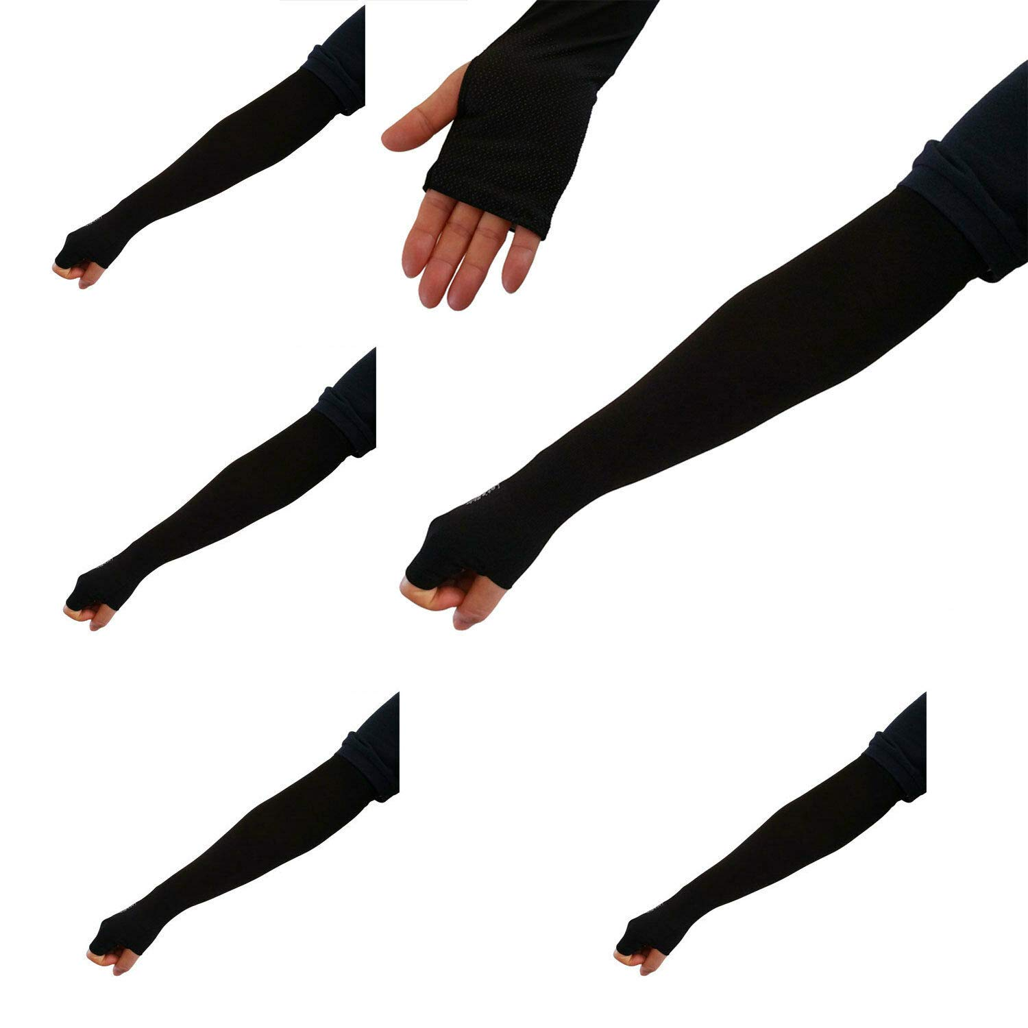 RR_joy 5 Pairs New Black Cooling Arm Sleeves Cover UV Sun Protection Outdoor Sports by RR_joy