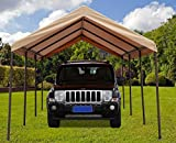 SORARA Carport 10' x 20' Heavy Duty Outdoor All-Purpose Car Canopy Storage Shelter with 8 Steel Legs, Beige