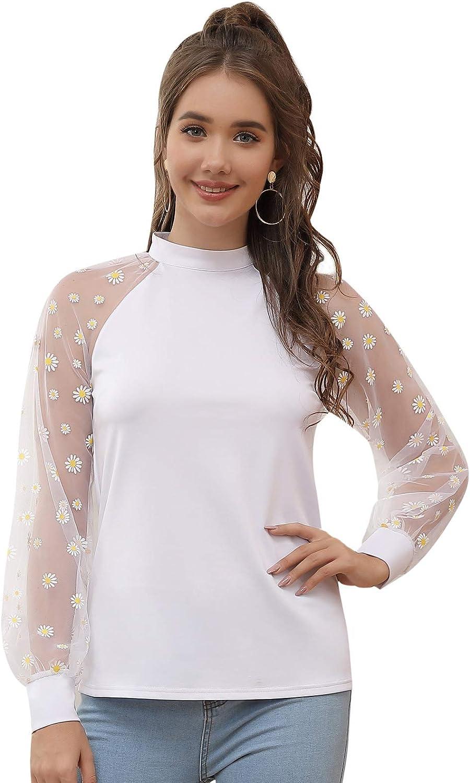 Kate Kasin Women Mesh Sleeve Blouse Puff High Neck Party Shirt Tops