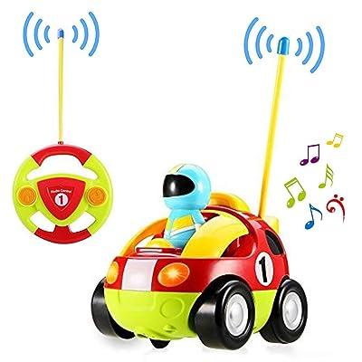 Yojoloin RC Cartoon Racer Car Control Remoto Juguete de policía con Musical y luz Mejor Regalo de cumpleaños para niños pequeños Tod Rojo: Juguetes y juegos