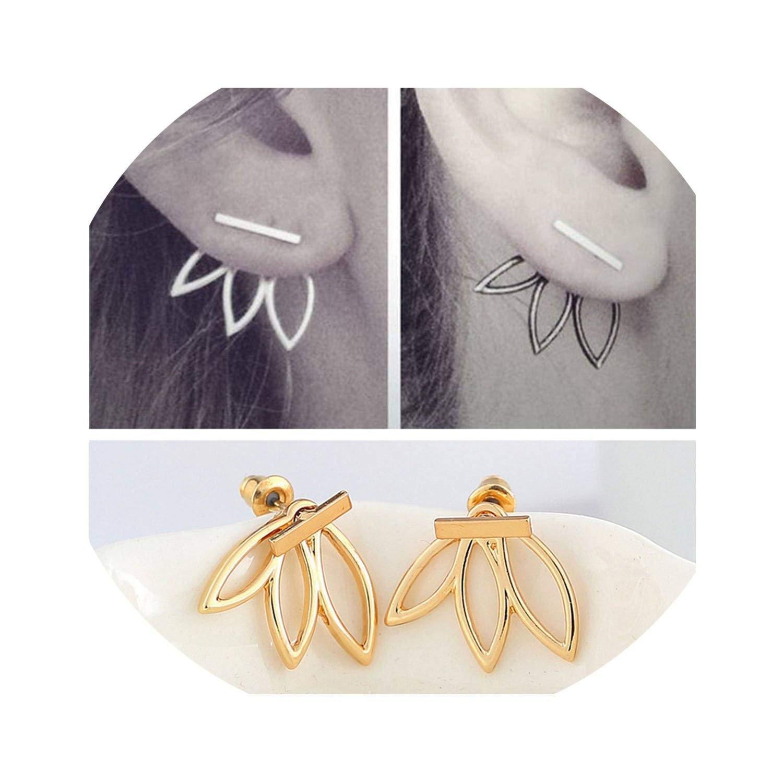 3-in-1 Lotus Ear Jackets Druzy Stud Earrings
