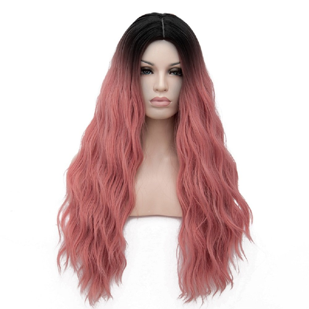 Max beauty Cosplay Wig Long Curly Wave Ombre Women Dye Multi-color Dark Roots Wigs Hair Free Cap (Pink Smoke RF28)