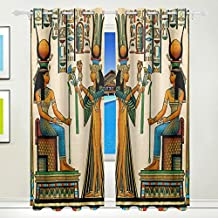 ALAZA Ancient Egyptian Queen Window Curtain for Living Room Bedroom Dining Room Polyester 84 x 55 Inches, 2 Panel Set Home Decor Decoration Polyester Fiber Window Blackout Treatments