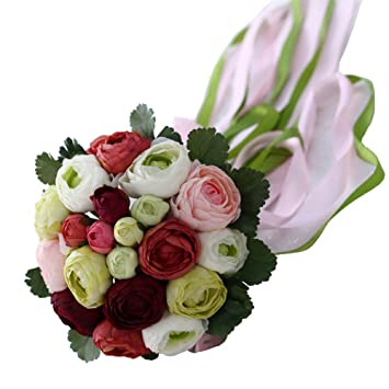 Amazon Chadox Romantic Wedding Bouquets With Ribbon Artificial