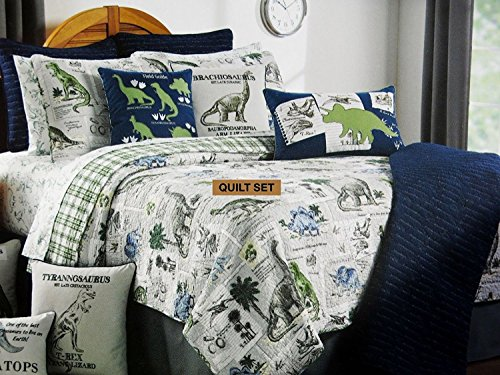 DINOSAURS 3-pc FULL/QUEEN QUILT Set - Set Includes: F/Q QUILT, 2 SHAMS (DINOSAUR PREHISTORIC)
