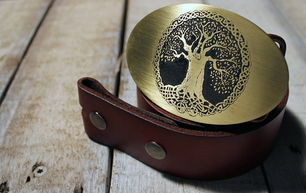 Celtic Tree of Life Etched Metal Belt Buckle