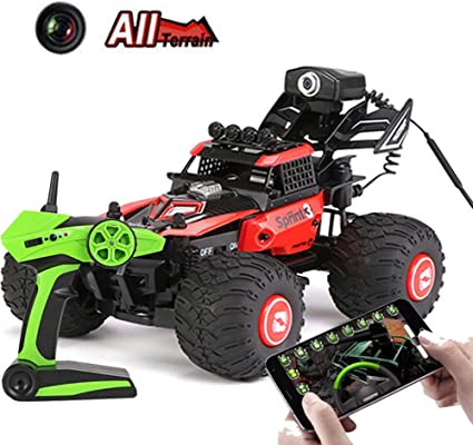 Amazon Com Remote Control Car With Wifi Camera Fpv 480p Video Photo 1 28 16mph 2 4ghz With Phone App Rc Offroad Racing Rechargeable Battery Truck For Boys Kids Adults Red Sports