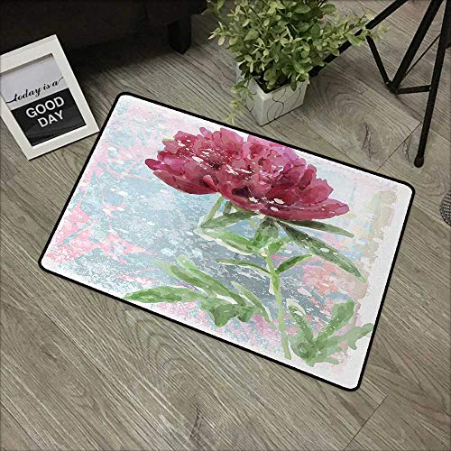 Outdoor door mat W35 x L59 INCH Floral,Peony Flower Murky Blossom Nature Beauty Growth Retro Picture,Magenta Fern Green Light Blue Natural dye printing to protect your baby's skin Non-slip Door Mat Ca - Light Magenta Photo Dye