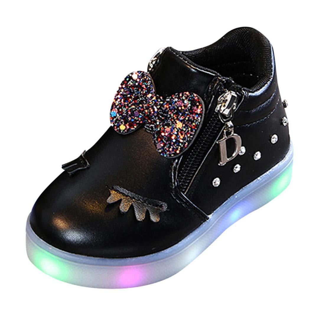 Webla(TM) Bébé Sneakers LED Chaussures Baskets Mode Cristal Bottes Strass Zipper Bowknot Princesse Filles,Running Brillant Antidérapant Enfants Lumière Lumineux Chaussures de Sport (25 EU, Noir)