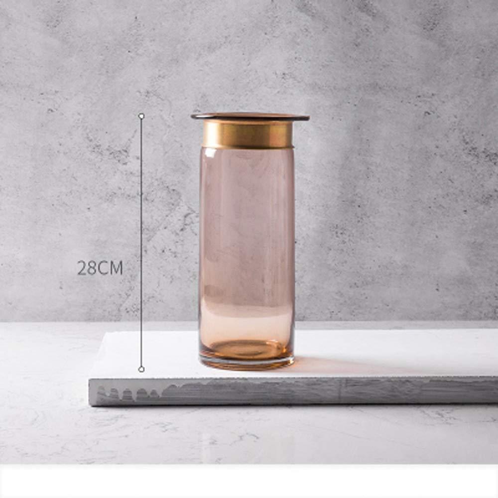 色ガラス花瓶用花緑植物結婚式の植木鉢装飾ホームオフィスデスク花瓶花バスケットフロア花瓶 (サイズ さいず : L l) B07QWKLRZK  L l