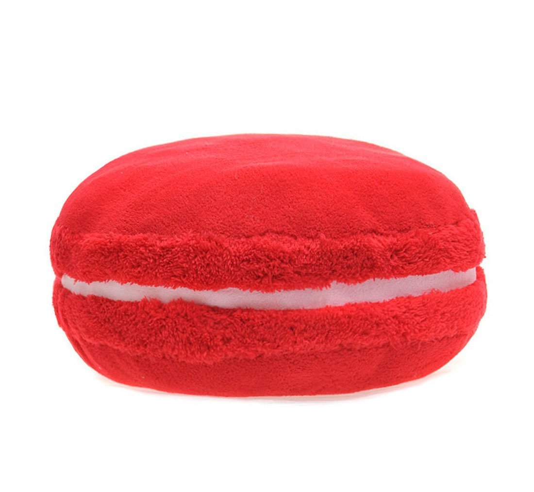 Macaron Pillow Stuffed Plush Toy Cute Candy Color Desserts Decorative Throw Pillow Back Cushion for Travel Cars Homes Sofa (Bingo cherry) by PWXH