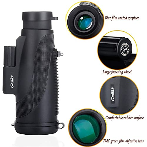 Gosky Titan 12X50 High Power Prism Monocular Clear Lens