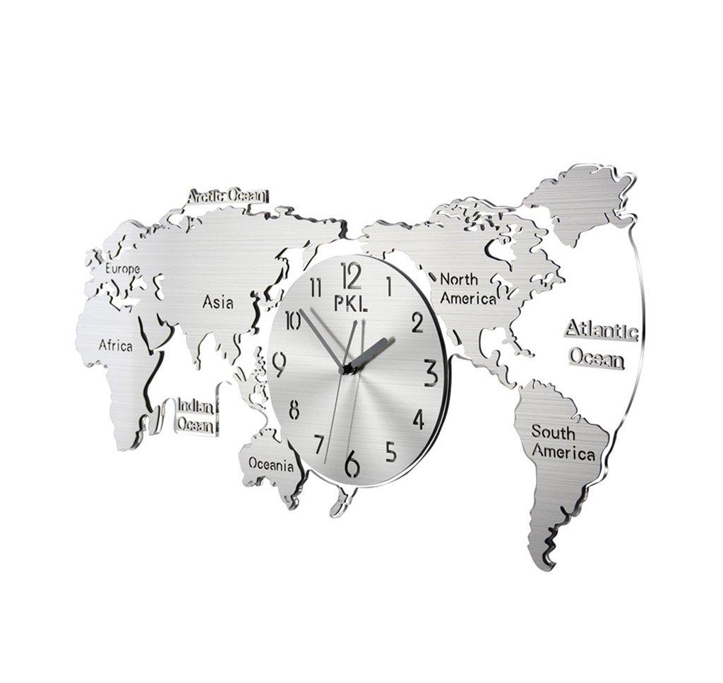 LJF Weltkarte Uhren, Schlafzimmer Wohnzimmer Hotelgebäude Bürogebäude Schule Exekutivagentur Wanduhr Edelstahl Wanduhr 34 * 70CM Praktisch und präzise (größe : 34 * 70CM)