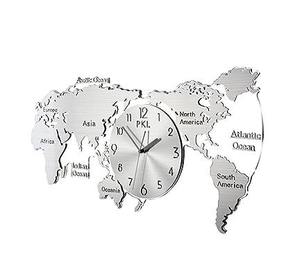 LJF Reloj del Mapa Mundial, Reloj de Pared de Acero ...
