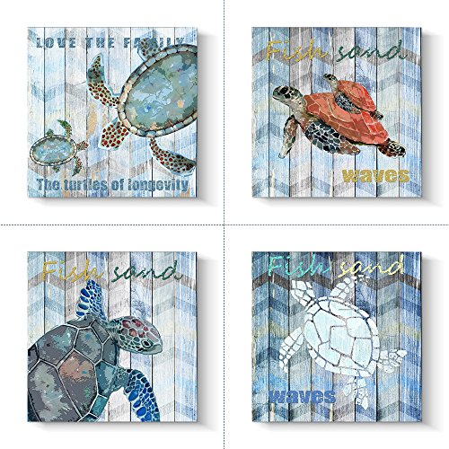 Pinetree Art Wall Art Baby Sea Turtle Wall Decor Painting on Canvas Swimming in The Ocean for Home Decor Set, 16 x 16 inch
