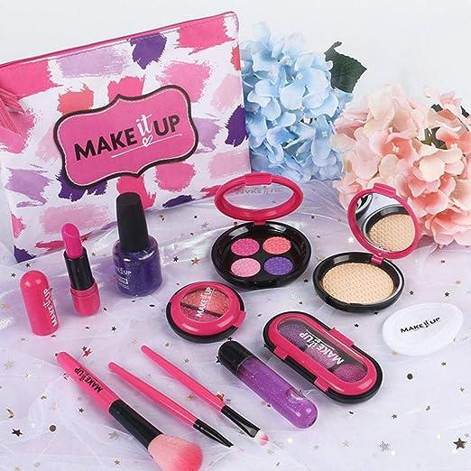 Set De Maquillaje para Niños, Set De Maquillaje De 9 Piezas, Set De Maquillaje Seguro Y
