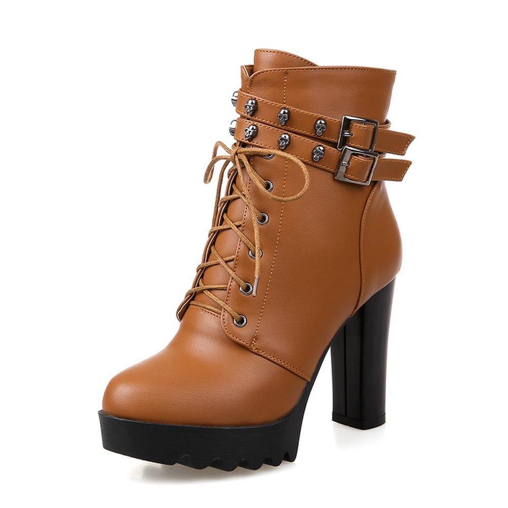 L@YC Damenschuhe Kunstleder Herbst Winter Stiefel Chunky Heel Runde Kappe Mitte Kalb Schnalle für Freizeitkleidung