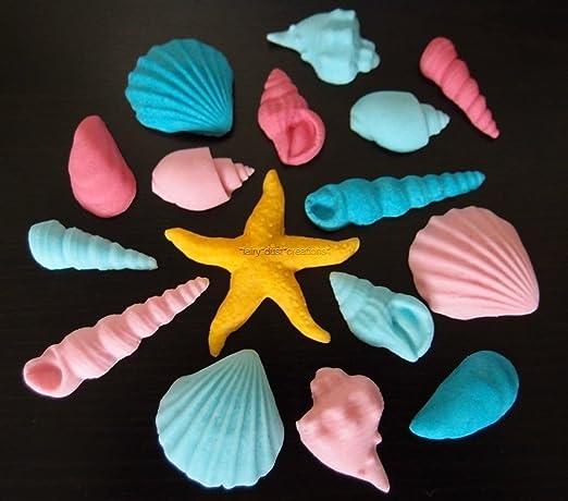 16 x comestible conchas playa de la Sirenita niña cumpleaños ...
