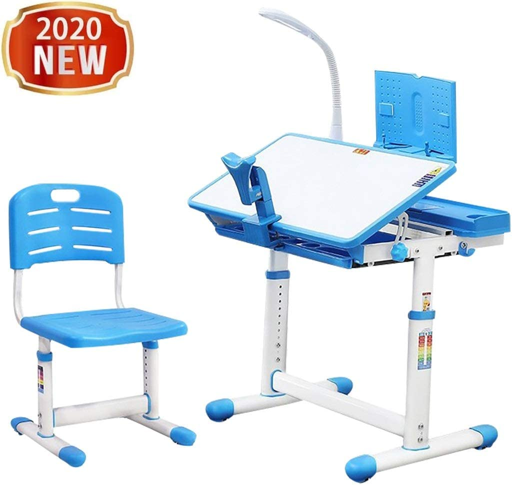 Children Desk and Chair Set - Height Adjustable Desk with Tilt Desktop for painting - School and home Kids Study Table w/ Bookstand, LED Light, Metal Hook and Storage Drawer for Boys Girl (Blue)