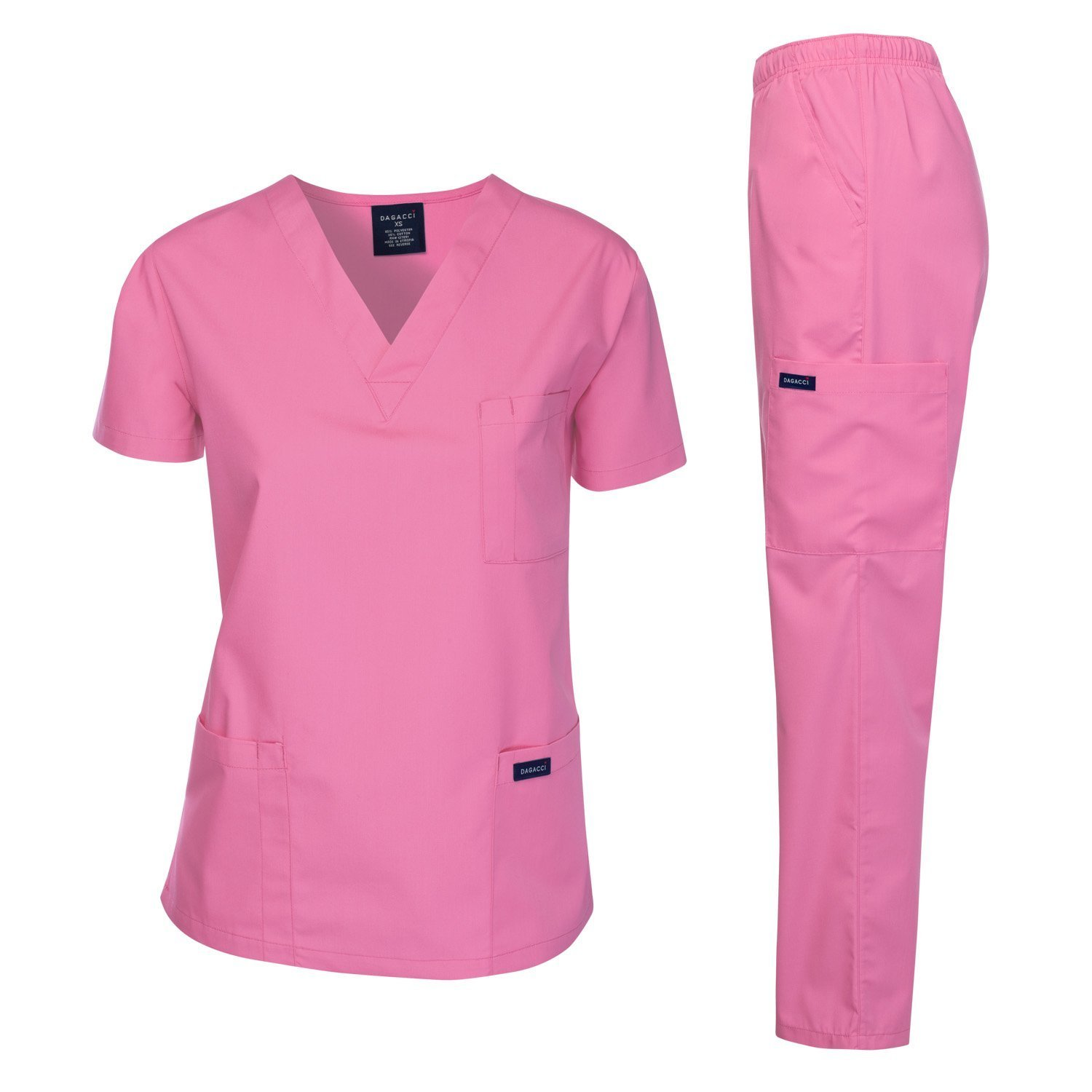 Dagacci Medical Uniform Women's Medical Scrub Set Top and Pant, ROSE PINK, S