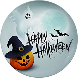 Art Ceramic Dinner Plates,Halloween Party Background With Pumpkin And Moon,dinner Plates For Indoor And Outdoor Use,break-resistant,6 Inch